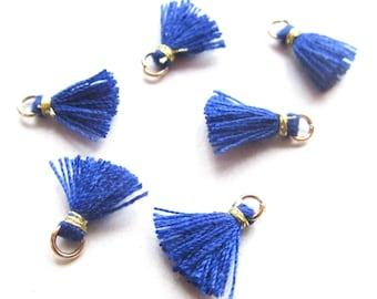 Pompon coton bleu, 1cm, attache dorée