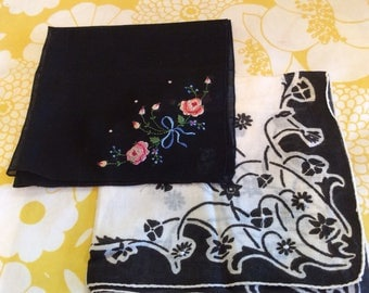 2 Vintage Black and White Handkerchiefs ~ Embroidered Black Floral Handkerchief ~ 1950's