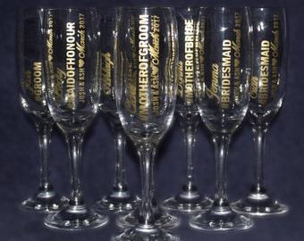 Bridesmaid wedding champagne flute - Wedding gift - Bridal party favours - Vinyl design - wedding day present