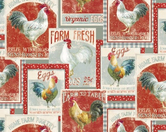 Wilmington Prints EARLY TO RISE Rooster Farm Cotton Fabric - 1 Yard