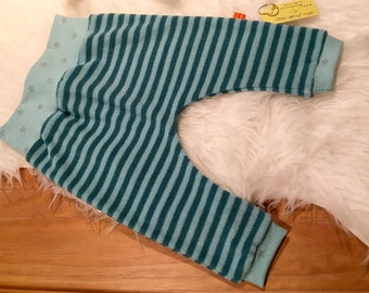 Pants 74/80 terrycloth mint turquoise stripes star