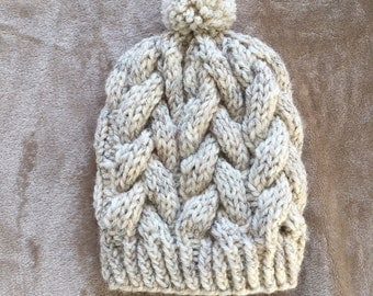 Braided Cable Beanie - Cabled Beanie - Warm Winter Hat for Her - Gifts for Her