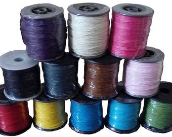Waxed Cotton Cord Reel - 90 Metres - 1mm - Various Colours