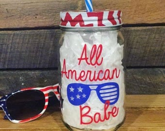 All american babe mason jar drinking cup