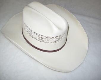"Bangora Cowboy Straw Hat size  7 1/8""  22 inches Free shipping"