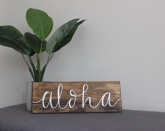 "Aloha Sign | Wood Sign | Hand Lettered | Hawaiian Decor | Wall Decor | 16""x5.5"""