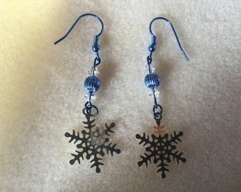 Blue Snowflake Earrings