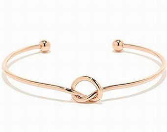 ADULT or KID'S Rose Gold Love Knot bangle, Love knot bracelet Help me tie the knot bracelet, Be my Bridesmaid Bracelet, Bridesmaid Gifts