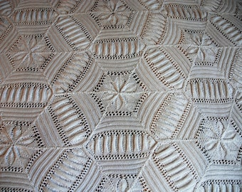 Large embroidered bedspread cotton crochet