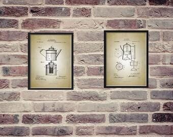 Coffee Poster: Coffee patent, Coffee Patent Print, Coffee patent Art, Kitchen Patent Print, Patent Print Set of 2,  Vtg Patent Prints