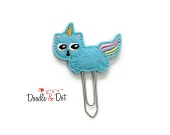 Kitty unicorn Planner clip, kitty unicorn Paperclip, Stationery, embroidered planner clip, embroidered paperclip,