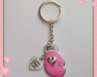Breast Cancer Awareness Boxing Glove Keychain with Love Hope Cure Dangle Charm
