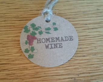 10 X HOMEMADE WINE lables Tags