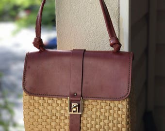 Vintage Leather and Woven Purse
