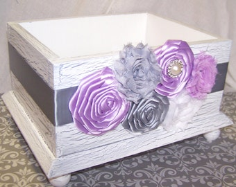 Delightful Baby Shower Card Box / Lilac And Gray Baby Shower / Baby Shower Decor /  Lavender