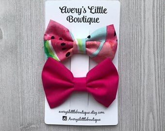 Watermelon Bow Set - Set of two alligator Clips - Gift for Girls  - Bow set for baby - watermelon bow- summer hair accessories