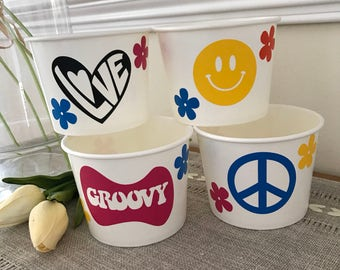 70's Party, Retro Birthday, Disco Party, Peace, emoji, Ice Cream Cup, Popcorn Cup, 12 oz. Snack Cups, Sets of 8, 10, 12, and 15