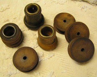 Antique wooden spool assortment