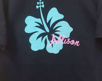 Personalized Hibiscus Flower T-shirt, Girls Hibiscus Shirt with Name, Hawaii Flower, Ladies Hibiscus Tee, Tropical Flower  Shirt with Name