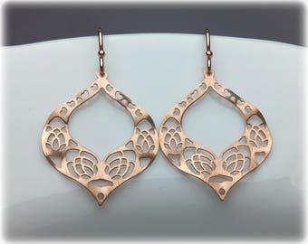 Rose Gold Earrings, Rose Gold Jewelry, Rose Gold Dangle Earrings