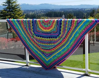 crocheted psychedelic mandala blanket cuddly warm and easy to care for, makes a great gift