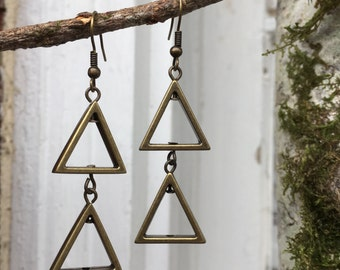 Antique Gold Colored Geometric Triangle Earrings