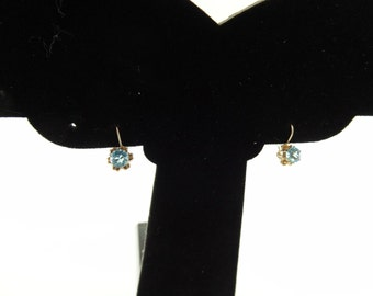 Blue Topaz YG Vintage French Wire Earrings