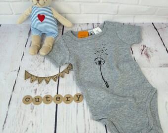 Baby bodysuit with dandelion design, baby bodysuit, toddler bodysuit, baby top, toddler top, dandelion design, top with dandelion