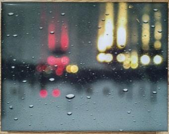 Abstract art, wall art, rain, red, yellow, water, traffic, cars, rain drops