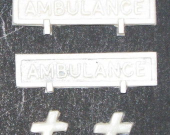 Resin 1:25 scale model ambulance signs
