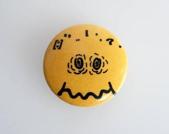 "Vintage 'Acid House' Smiley 1"" pin back button badge"