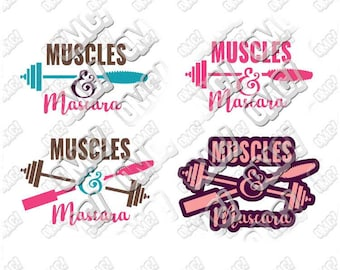 Muscles and Mascara Workout svg dxf eps jpeg format layered cutting files screen print die cut decal vinyl cricut silhouette