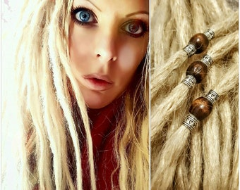 """1 x 20"""" Real Human Hair Dreadlock Dreads Blonde with Metal Effect/Wooden Bead - suitable for dying"""