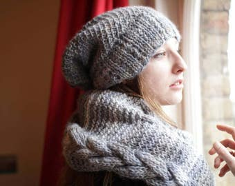Matching Infinity Scarf and Hat Combo, Hand-knitted in Grey Scale, Cozy combo