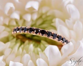 Black Diamond Half Eternity Engagement Band in 14K Solid Rose Gold, Wedding, Stacking Ring, Stackable, Genuine Black Diamond by Sapheena