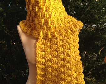 Yellow Scarf, Winter Scarf, Bulky Scarf, Warm Scarf, Crochet Scarf, Long Scarf
