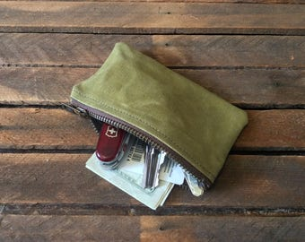 Waxed Canvas Pouch, Waxed Canvas Bag, Waxed Canvas Wallet, Zipper Pouch, Coin Purse, Waxed Canvas Makeup Bag, EDC Pouch, Cosmetic bag