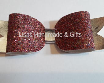 Handmade Glittery Box Bow Hair Clip