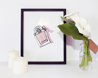 Perfume Series 002, Chloe Style, Watercolor, Gouache, Painting, drawing, illustration, Home Decoration Poster, Interior object, Frame