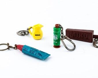 Keychain set of 4 chains, Vintage keychain, Vintage key chain, Vintage cute keychain, cute keychain, retro keyring, advertising keychains