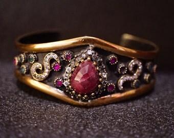 Drop Ruby Bangle Bracelet/Handmade Unique/Emerald Zircon/Antique Broonze