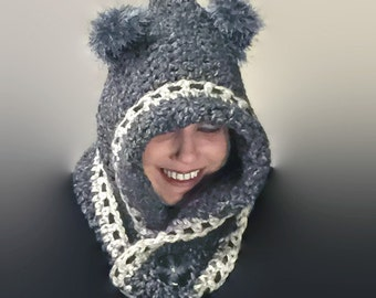 Grey Wolf Scoodie / Hooded Cowl