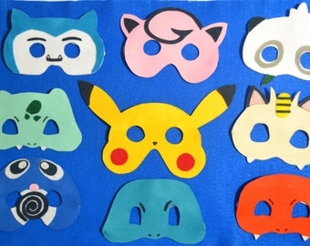 POKEMON PARTY MASKS - Set of 12 Felt Masks, Pokemon Costume, Pokemon Birthday, Pokemon Go Party, Pokemon Party, Pikachu mask, Pokemon favors