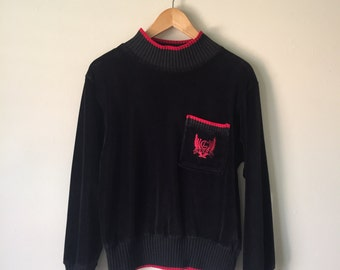 Vintage Chic Black Red Velour Sweater Size Small