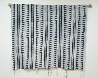 Grey color african mudcloth fabric throw ethnic print, no. 127