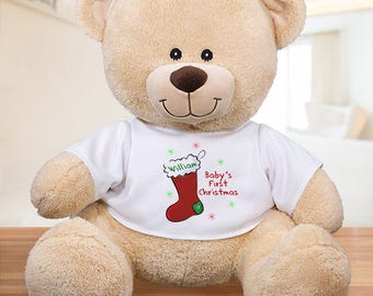 "Personalized Baby's First Christmas 12"" Teddy Bear Custom Name Gift"