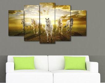 Five Panel Running Horses Print