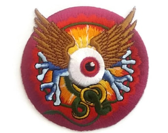 Monster Eye Embroidered Iron On Patch, size 3X3