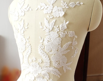 1 pcs Lace Applique Trim Appliques  for Weddings, Sashes, Veils, Headpieces, WL8038