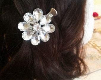 Silver Rhinstone hair clip